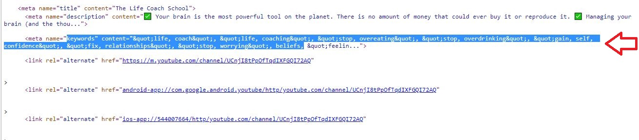 Channel Keywords on the View Source