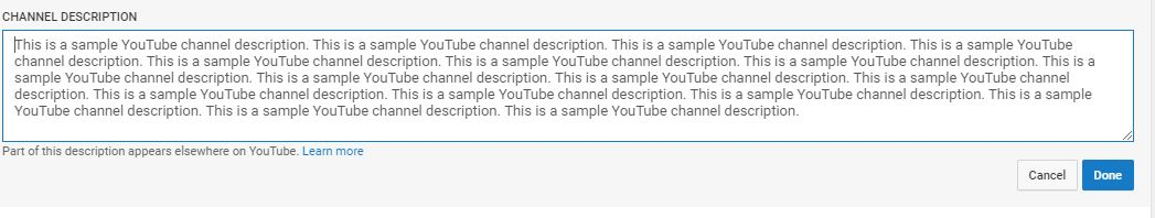 YouTube Channel Description is important for YouTube SEO