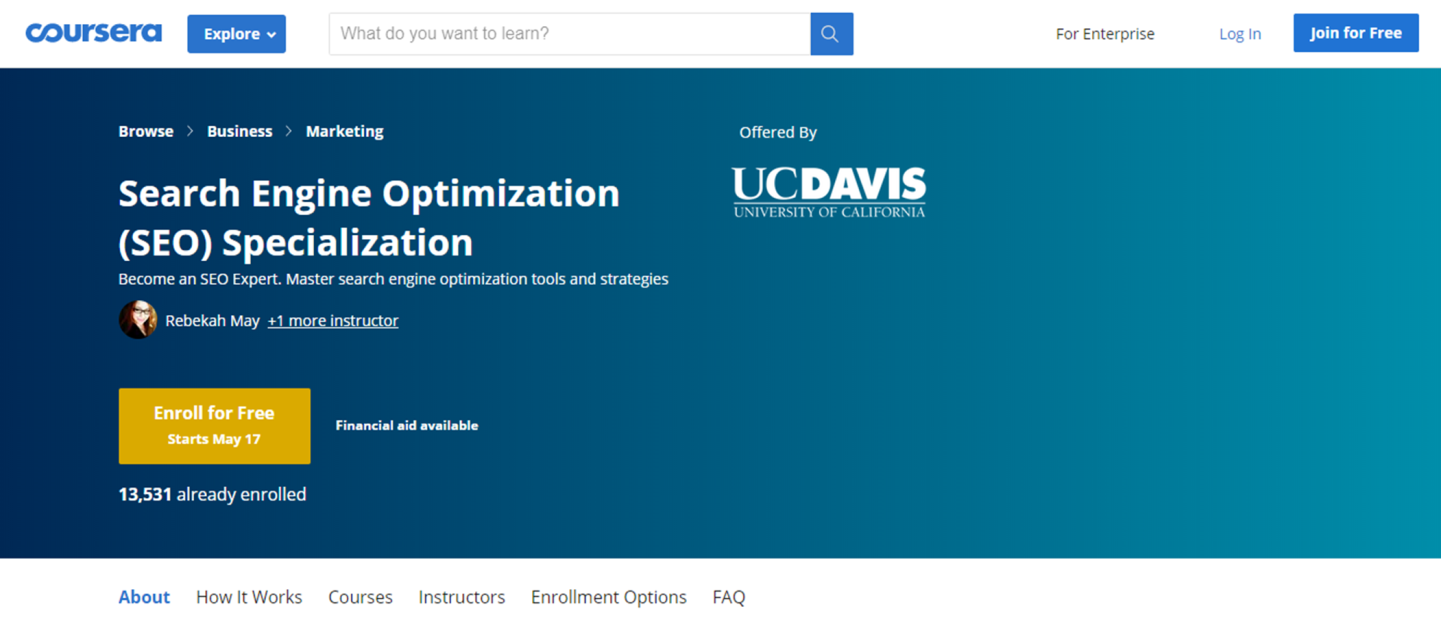 SEO Online Course - UCDAVIS